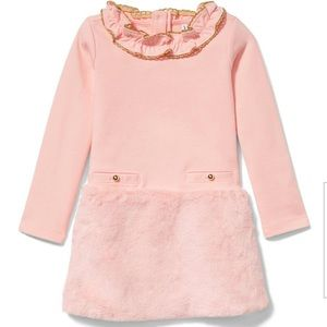 ⭐️Janie & Jack pink Faux Fur Ponte dress- Age 7